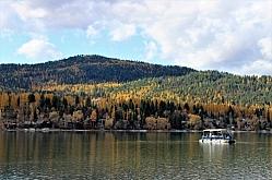 Pontoon Boat on Whitefish Lake